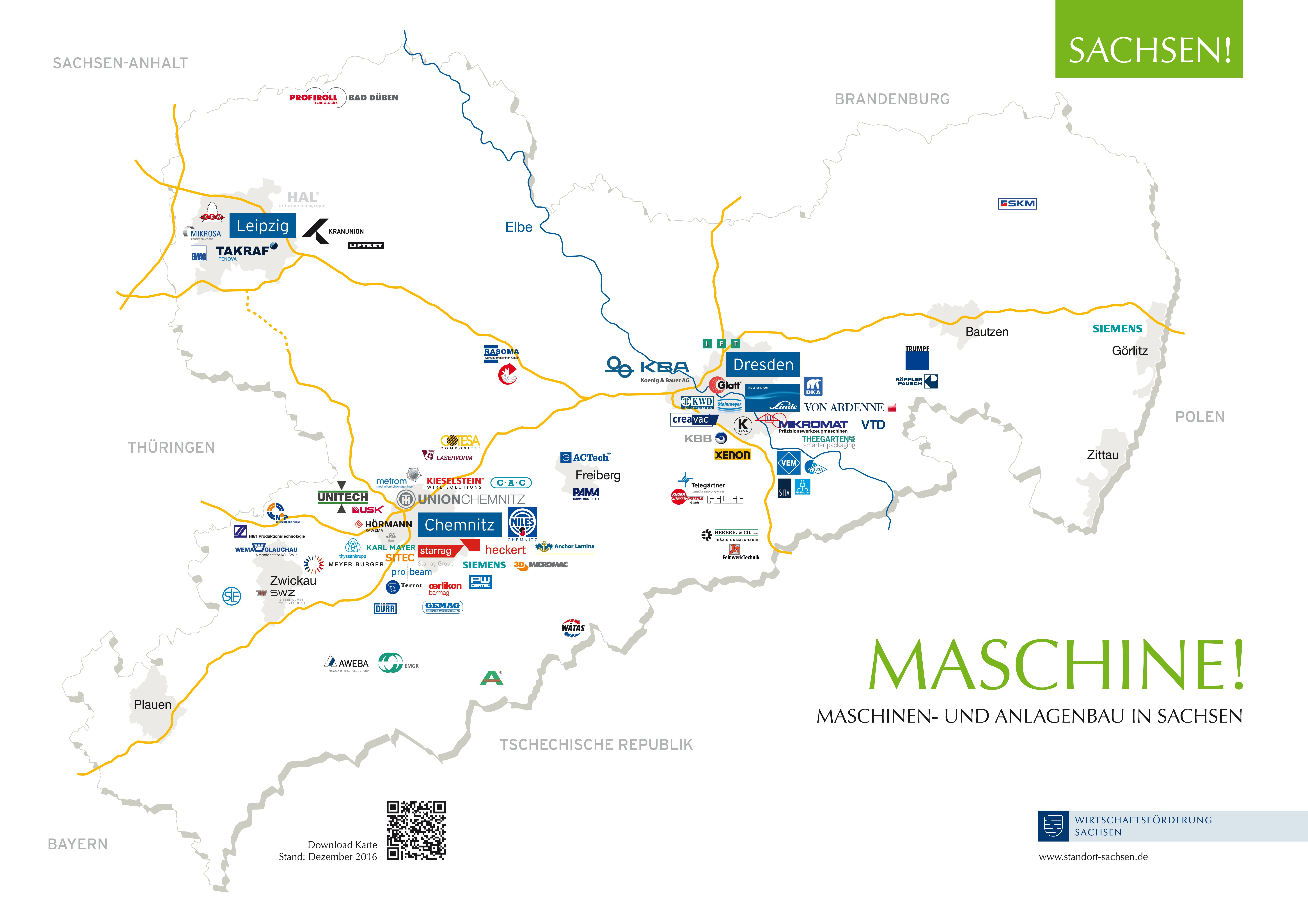 Karte Chemnitz Und Umgebung.Standort Sachsen Maschine Maschinen Und Anlagenbau